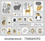 christmas cards and gift tags... | Shutterstock .eps vector #750069292