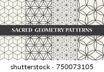 black and white sacred geometry ... | Shutterstock .eps vector #750073105