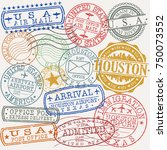 houston texas stamp vector art... | Shutterstock .eps vector #750073552