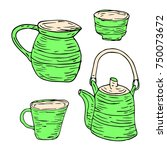 tableware set vector... | Shutterstock .eps vector #750073672
