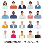people with different face... | Shutterstock .eps vector #750077875