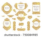 vector set with vintage golden... | Shutterstock .eps vector #750084985