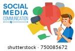 teen boy messaging vector.... | Shutterstock .eps vector #750085672