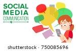 teen girl messaging vector.... | Shutterstock .eps vector #750085696