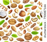 seamless pattern nuts food... | Shutterstock .eps vector #750087166