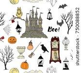 halloween seamless pattern with ... | Shutterstock . vector #750088852