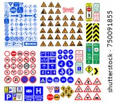 set of road sign. collection of ... | Shutterstock .eps vector #750091855