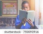 asian rural student boy happy... | Shutterstock . vector #750093916