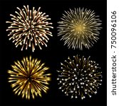 set of golden fireworks. set of ... | Shutterstock .eps vector #750096106