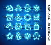 set of blue christmas neon... | Shutterstock .eps vector #750098806