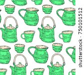 tableware set vector... | Shutterstock .eps vector #750101512