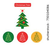 christmas tree outline icon on... | Shutterstock .eps vector #750104086