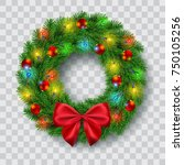 christmas wreath with lights ...   Shutterstock .eps vector #750105256