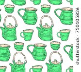 tableware set illustration.... | Shutterstock . vector #750105826