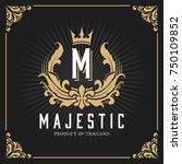 vintage luxury monogram logo... | Shutterstock .eps vector #750109852