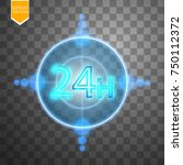 twenty four seven concept open... | Shutterstock .eps vector #750112372