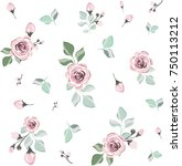 floral seamless pattern. vector ... | Shutterstock .eps vector #750113212