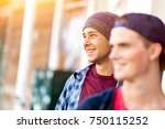 teenagers walking down the... | Shutterstock . vector #750115252