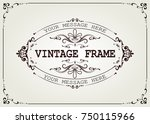 vintage frame with beautiful... | Shutterstock .eps vector #750115966