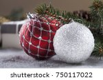 christmas decorative elements... | Shutterstock . vector #750117022