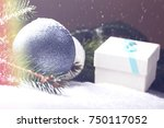 christmas decorative elements... | Shutterstock . vector #750117052
