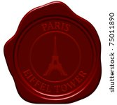 eiffel tower. sealing wax stamp ... | Shutterstock .eps vector #75011890