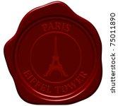 eiffel tower. sealing wax stamp ... | Shutterstock .eps vector #75011890
