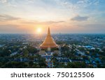 large golden pagoda located in...   Shutterstock . vector #750125506