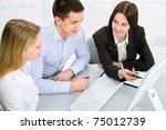 business meeting   happy... | Shutterstock . vector #75012739