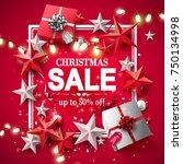 modern christmas sale flyer... | Shutterstock .eps vector #750134998