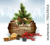 christmas background with... | Shutterstock .eps vector #750135016
