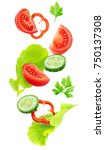 isolated falling vegetables.... | Shutterstock . vector #750137308