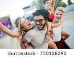 group of friends having fun... | Shutterstock . vector #750138292