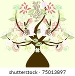 abstract tree with flowers ...   Shutterstock .eps vector #75013897