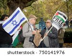 4th November 2017, London, United Kingdom:-A pro Isreal and pro Palestine protester meet outside the US embassy in London - stock photo