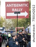 4th November 2017, London, United Kingdom:-Unidentified pro Isreali protester carrying a placard at a pro Palistine rally - stock photo