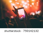 portrait of happy crowd... | Shutterstock . vector #750142132