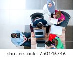 young modern guy and girls are... | Shutterstock . vector #750146746