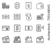 thin line icon set   coin stack ... | Shutterstock .eps vector #750148042