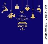 set of golden christmas...   Shutterstock .eps vector #750150145