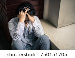 business man is stressed from... | Shutterstock . vector #750151705