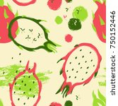 abstract colorful dragon fruit... | Shutterstock .eps vector #750152446