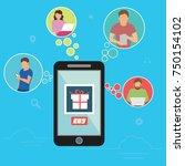 shopping online concept vector... | Shutterstock .eps vector #750154102