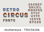 doodle retro circus fonts and... | Shutterstock . vector #750156106