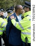 4th November 2017, London, United Kingdom:-Unidentified pro Israeli man being arrested near Parliment Square near a pro Palestine rally - stock photo