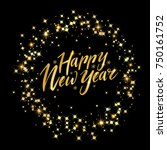 happy new year card with circle ... | Shutterstock .eps vector #750161752
