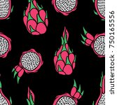 dragon fruit seamless pattern.... | Shutterstock .eps vector #750165556