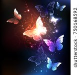 Stock vector night glowing butterflies on dark abstract background 750168592