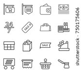 thin line icon set   shop... | Shutterstock .eps vector #750175606