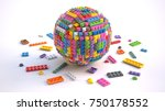 sphere of colored toy bricks on ... | Shutterstock . vector #750178552